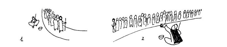 la foule, d'aveugle et adversaire de Bartimée, devient facilitateur avec Jésus