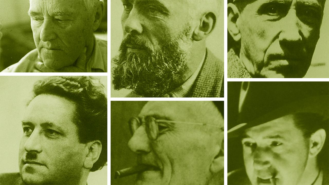 De haut à gauche en bas à droite: Alexandre cingria, Marcel Feuillat, Gino Severini, Fernand Dumas, François Baud et Gaston Faravel